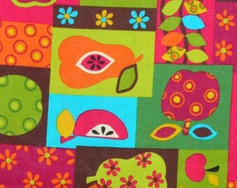 Fruit fabric, Apples and Pears,  Fruit Collage, Retro Fruit Fabric, Patterned Fruit, By the Yard, Cotton Fabric