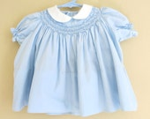 Smocked Blue Baby Dress Bloomers Smocked Yolk White Collar 12 Months 224b