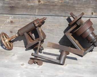 Wood Lathe, 1920's Belt Driven, Antique Utilitarian Tool, Rustic Woodworking Tool