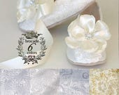 SPECIAL ORDER: Ivory Brocade Toddler Flower Girl Shoe (foot 7.5 inches) and matching hair piece on french clip.