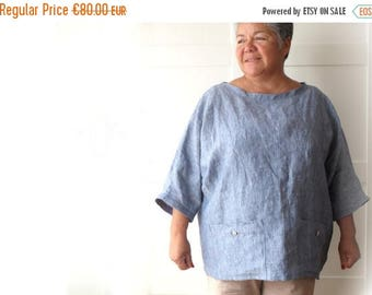 ON SALE Woman linen tunic, oversized top with pockets, linen shirt. Sizes M, L, Xl. Softened flax. 9 colors. Loose fit. Large size.