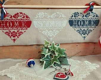 Home Sweet Home Hearts R-77 cross stitch patterns by Rovaris at thecottageneedle.com red white and blue patriotic USA monochromatic