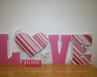 Wood letters, Love sign, Holiday decor, Seasonal decor, Valentines decor, Wood love letters, Mantel decor, Wood sign, Wood valentine sign