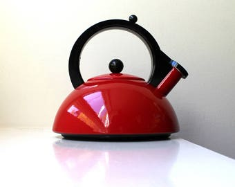 Mod Red Enamel Tea Kettle Modernist Whistling Copco Sam Lebowitz Style