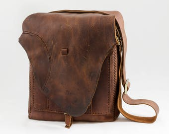 Rustic Brown Leather Satchel