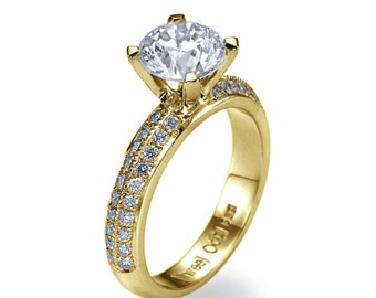 Diamond Ring, Solitaire Ring Round 2.00 CT Enhanced Natural Diamond Engagement Ring VS1 G 14K Yellow Gold Ring Size 8.5 Jewelry