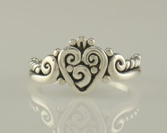 R969-Sterling Silver Heart Ring- One of a Kind