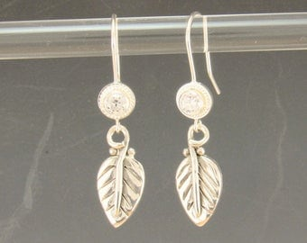 ER590- Sterling Silver CZ Leaf Earrings- one of a kind