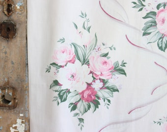 1930s Sweet Pink Shabby Cottage Chic Muted Pink Cabbage Rose Vintage Fabric Panel Drape