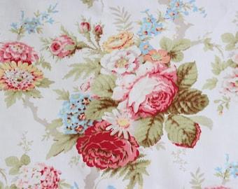 Botanical Pink English Cabbage Rose Floral Pattern Chic Garden Cottage Designer Decorative Throw Pillow