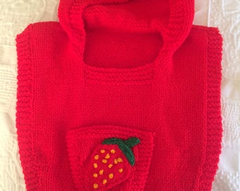 Hand Knitted Bright Red Smock / Ponch with Strawberry Pocket - 2 Year Old