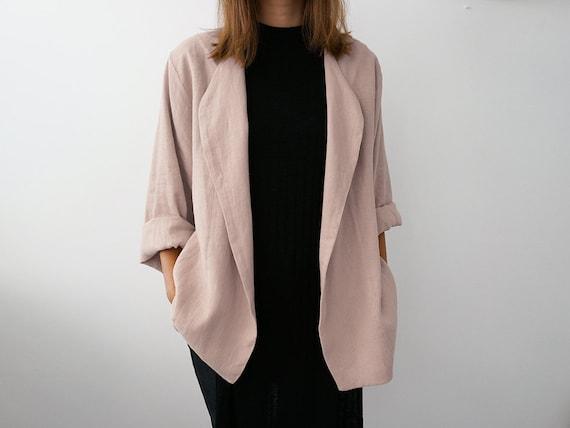 b52ffb58595 new Dusty rose linen jacket for woman loose fit women s - www ...