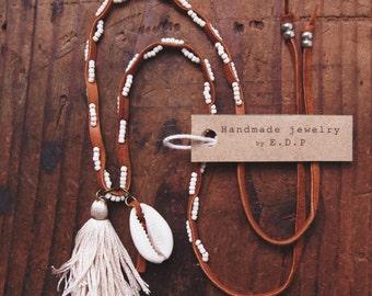 STN-03, Handmade shell and tassel  beaded leather necklace,bracelet,anklet