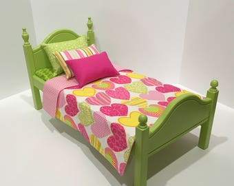 American Girl Doll:  Furniture, lime green bed and hearts  bedding