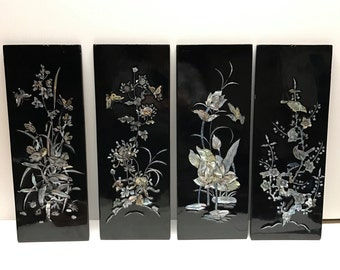 4 Vintage Korean Shell Inlay Panel Pictures. Lacquer Oriental - Asian - Chinese  - Chinoiserie
