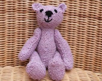 "8"" Handmade pink teddy bear old fashioned hand knitted pink  teddy bear vintage style knitted pink 100% wool teddy bear handmade wool bear"