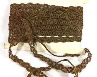 Vintage Trim French Antique Gold Metallic Great Condition 10 Yds Unused Rare