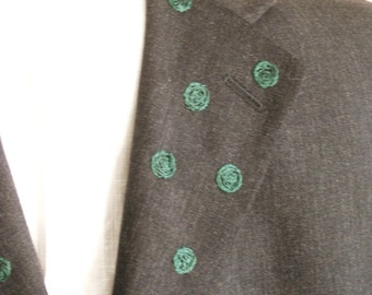 Men's Jackets, Sport Coats, Dress Coat, 42 Long, Business Attire, Up-Cycled Clothing, Charcoal Gray, Men's Clothing, Jacket,Hand Embroidered