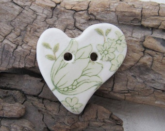 Pale Green Floral Folk Heart Ceramic Button