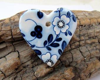 Delft Style Bue White Flower Ceramic Heart Pendant