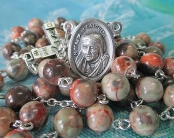 Handmade Catholic Rosary, Gorgeous Dream Jasper Gemstone Beads, St Mother Teresa of Calcutta Relic Center, Alpha Omega Crucifix