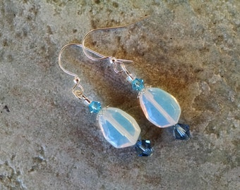 Opal teardrop earrings with silver and blue crystal