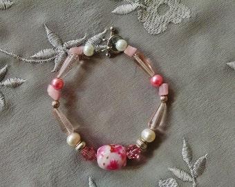 Pink beaded bracelet, Pink and silver lampwork crystal pearl bracelet