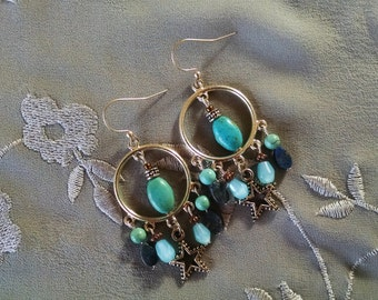 Turquoise chandelier earrings, Bohemian gypsy hippie long Silver hoop chandelier earrings with turquoise and lapis