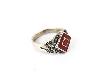 Art Deco Sterling, Marcasite & Red Enamel Ring