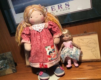 """Sweetie Pies, 18-20"""" Waldorf doll clothes, 2 pc, pocket"""