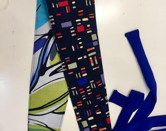 Obi belt - Sea tones  - Reversible- Greometric- Sash - Fabric Belt- Wide Belt, by MiXeDesigns lab