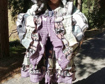 AVAILABLE NOW!!! Vintage Upcycled Sweater Cloak / Victorian Bustle Coat