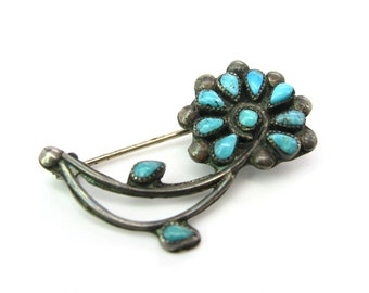 Turquoise Flower Brooch. Zuni Petit Point, Sterling Silver. Small Native American Desert Flower. Vintage 1960s Native American Jewelry