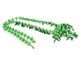 Art Deco Necklace. Czech Glass Beads. Green Fringe. Antique Sautoir Necklace. 1920s Hand Wired Unique Vintage Gift for Her.