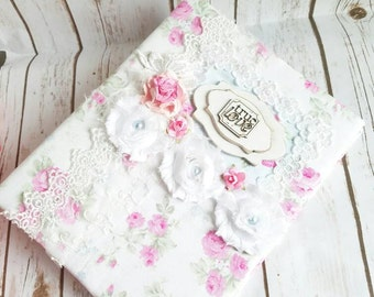 Roses Wedding Album, Shabby Chic Album, Roses Album, Cottage Chic Album, Roses Wedding Album, Baby Girl Album, True Love, Handmade Album