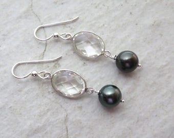 Tahitian Pearl Earrings, Clear Quartz Crystal, Sterling Silver, Gemstone Jewelry, Genuine Black Pearl, Hawaii Jewelry, Christmas Gift Idea