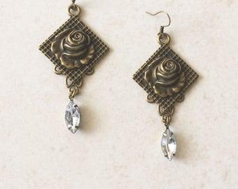 Brass Rose Rhinestone Earrings, Brass Stamped Metal Flower Earrings