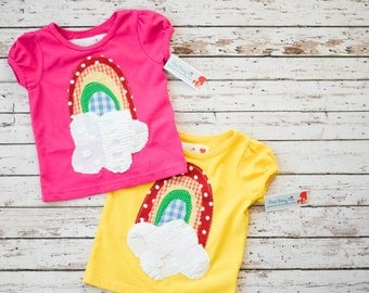 Rainbow Tee Girls Puff Sleeve Size 12 Months Pink or Yellow