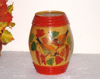 Folk Art Pyrography Barrel Shaped Box, Jar / Hand Painted Turned Wood, Birds and Fall Leaves, Stash, Treenware, Storage