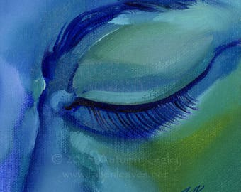 Blue Meditation - Original Oil Painting on Loose Canvas - 5x5 Inch Image Mounted and Matted to 10x10 Inches