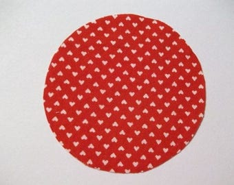 Cotton Fabric Circles 3 inch Red with White Hearts 30 pcs