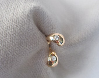 Ultra Petite Mini Huggie with Solitary Faceted Crystal Rose Gold Stud Earrings