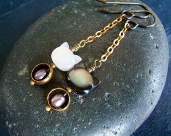 ZEF Cats - Genuine Mother of Pearl, Abalone, & Pearl Earrings, Carved Cat Beads, Mixed Metals, Cat Lovers, Gifts For Her, Die Antwoord Fans