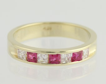 Synthetic Ruby & Cubic Zirconia Band - 14k Yellow Gold Ring .24ctw L8405