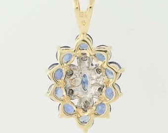 Sapphire and Diamond Pendant - 14k Yellow & White Gold 2.48ctw N5497