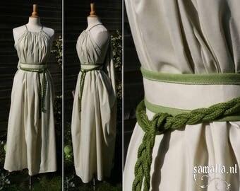 Shea Handmaiden / Grecian Dress - <READY TO SHIP> - one size - (Larp, Cosplay, Ren Faire, Festival) - Green Cotton Batiste and Linen
