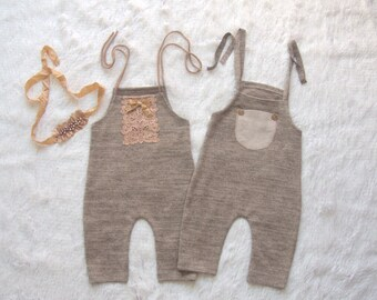 NEW-6-9 months Light Caramel/Beige Twins Rompers,Photography Prop Sets,6-9 months Girl-Boy Outfits,Sitters Twins Rompers,Sitters Props