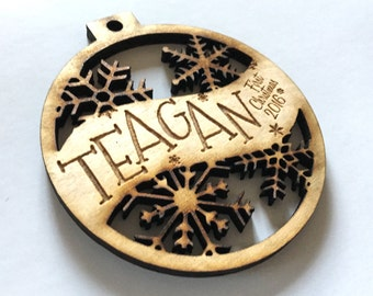 Teagan - Customizable Baby's First Christmas Ornament - Engraved Birch Wood Ornament