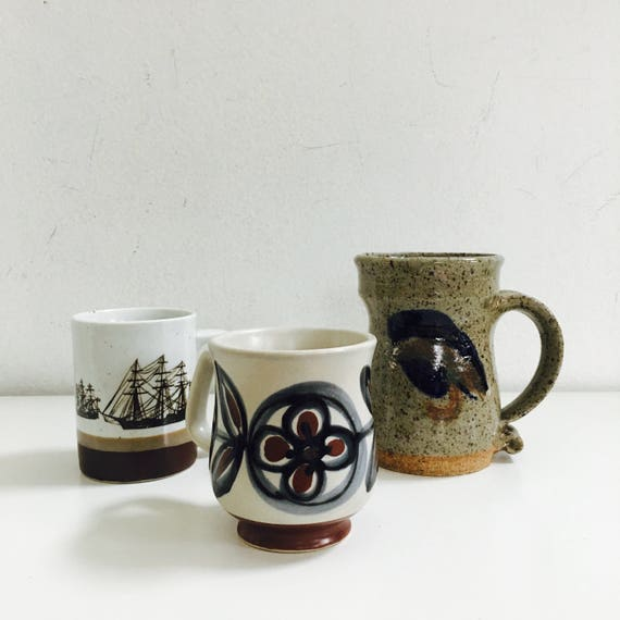 Vintage Boho 1970's Ceramic Coffee Mugs Sailing Ships Brown Indigo Flower Cups Stoneware Mug Coffee Tea Retro Drinkware