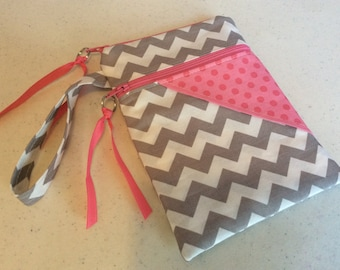 Ready to Ship IPhone Holder - iPhone Wristlet - iPhone Bag - iPhone Case - Gray Chevron with Pink tone on tone Dots